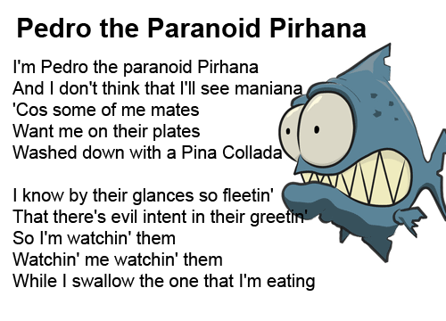 Pedro the Paranoid Piranha love poems