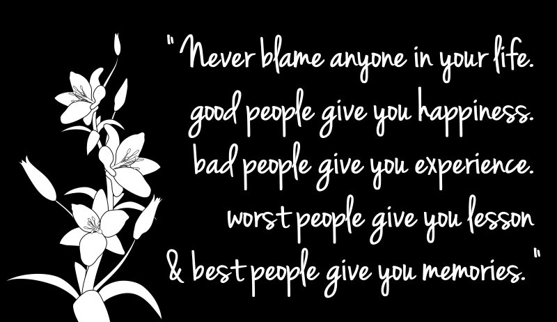 Never Blame Anyone