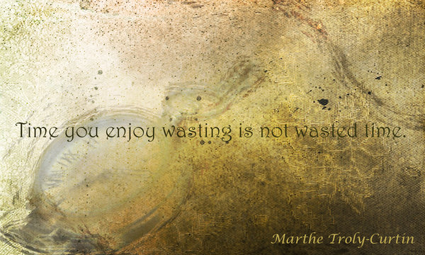 Time you enjoy wasting is not wasted time daily inspirational quotes