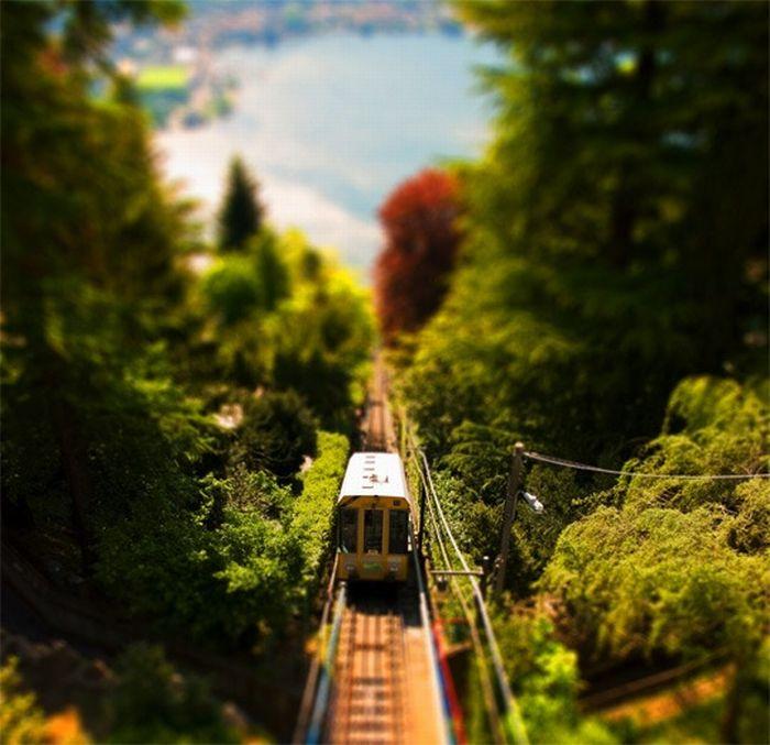 Smart Train tilt shift photography